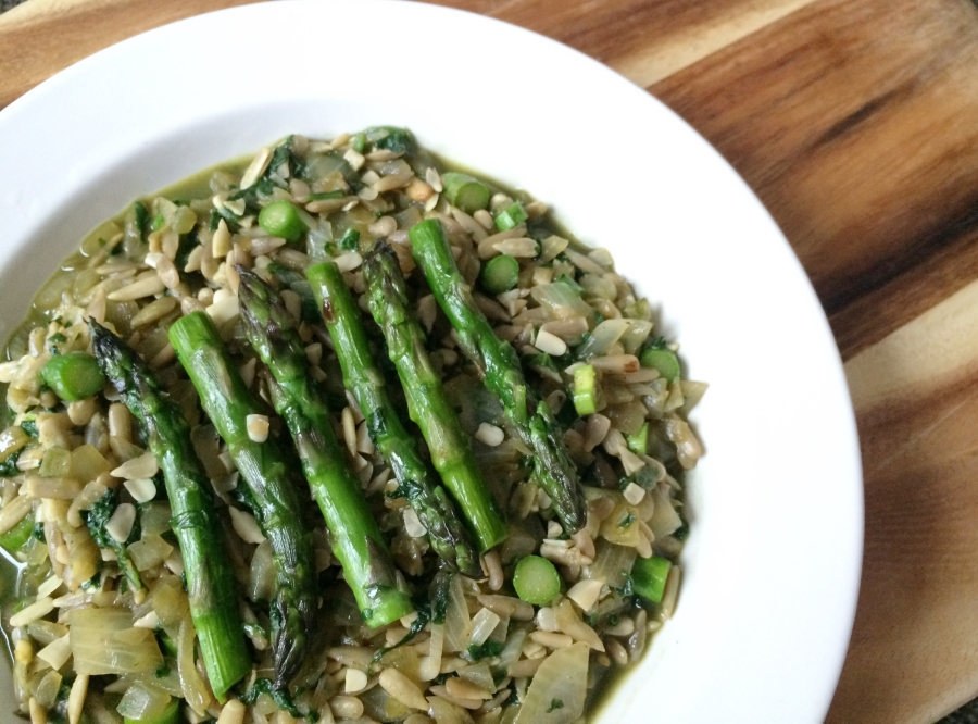 Clean Spinach Asparagus Risotto